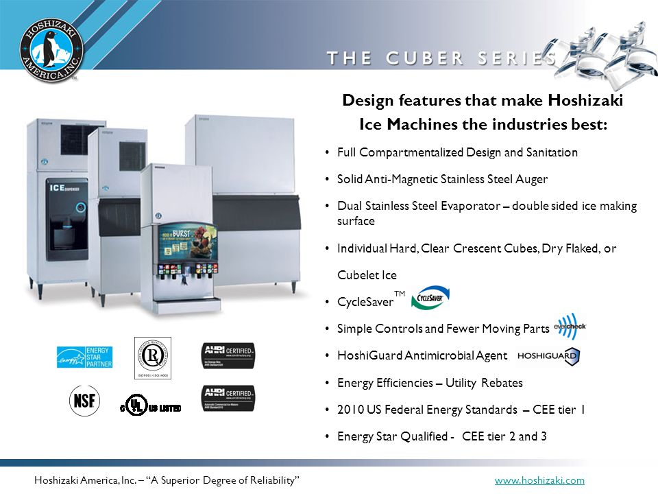 Design features that make Hoshizaki Ice Machines the industries best: