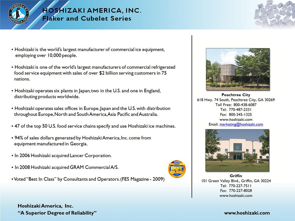 HOSHIZAKI AMERICA, INC. Flaker and Cubelet Series