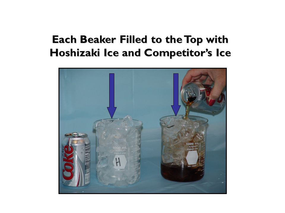 Each Beaker Filled to the Top with Hoshizaki Ice and Competitor's Ice