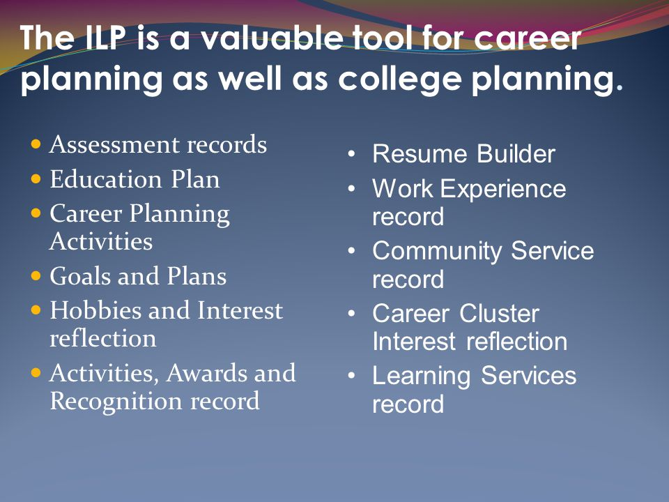 The ILP is a valuable tool for career planning as well as college planning.
