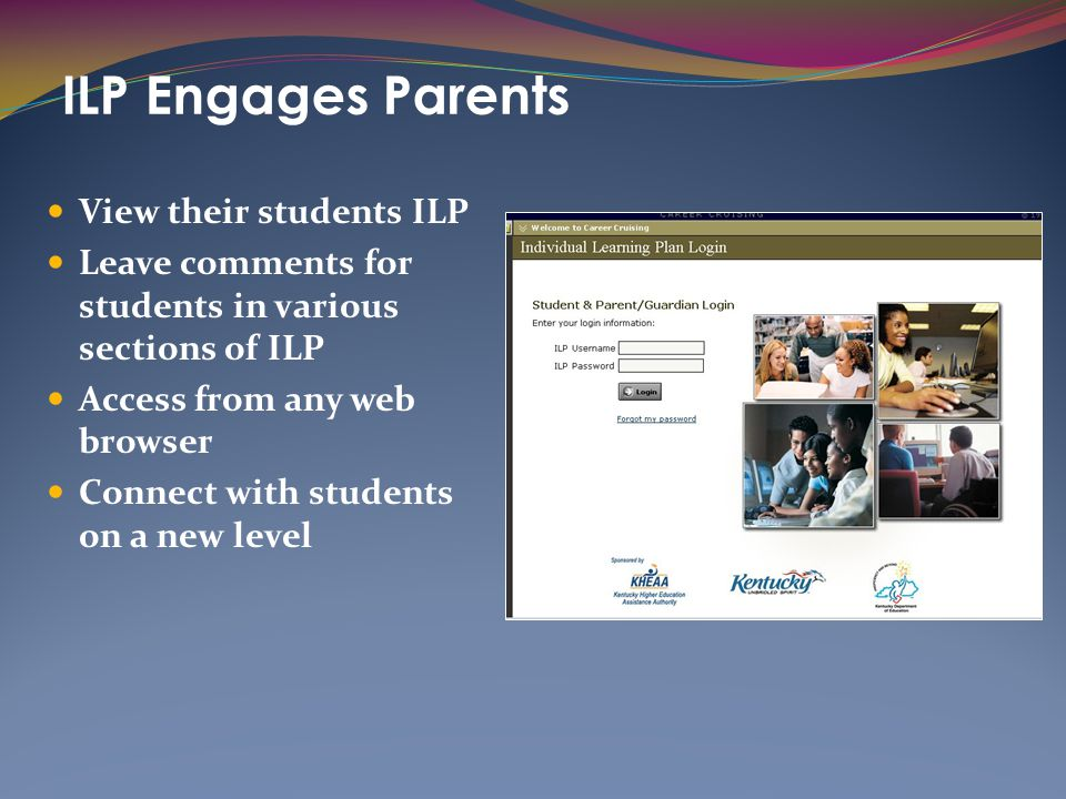 ILP Engages Parents View their students ILP