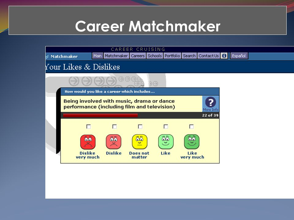 Career Matchmaker The ILP is fully integrated with the Career Cruising career guidance system.