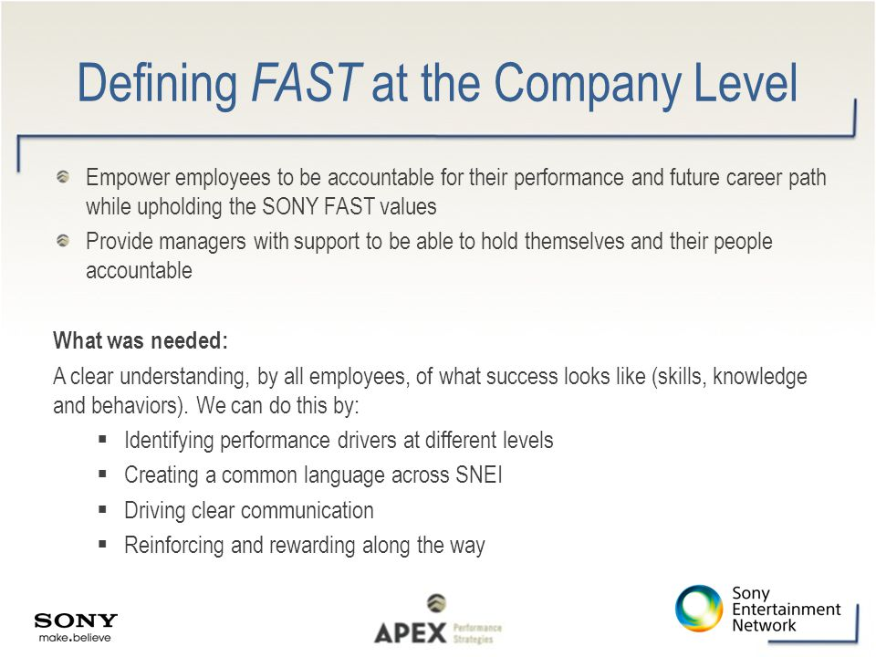 Defining FAST at the Company Level