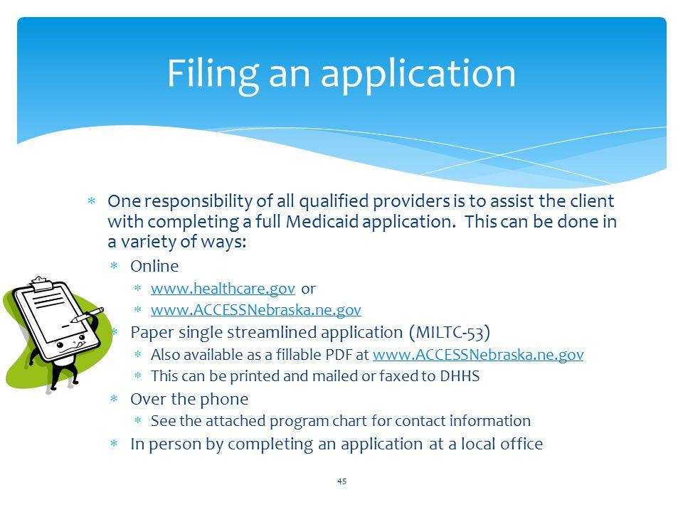 Filing an application