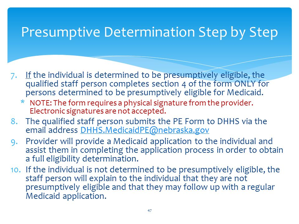 Presumptive Determination Step by Step