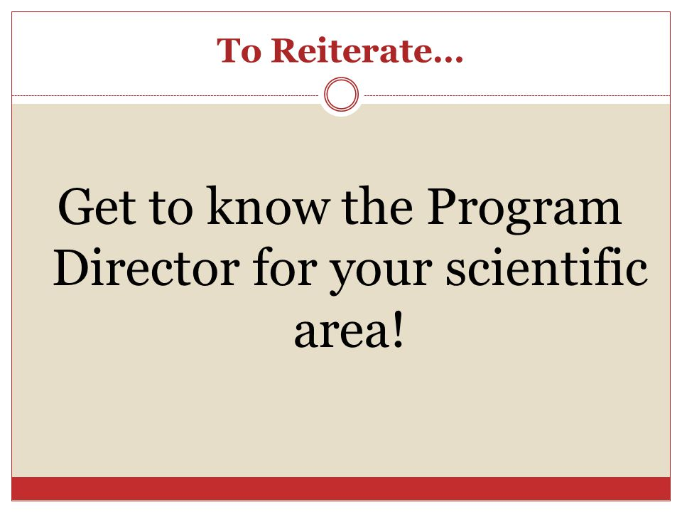 Get to know the Program Director for your scientific area!