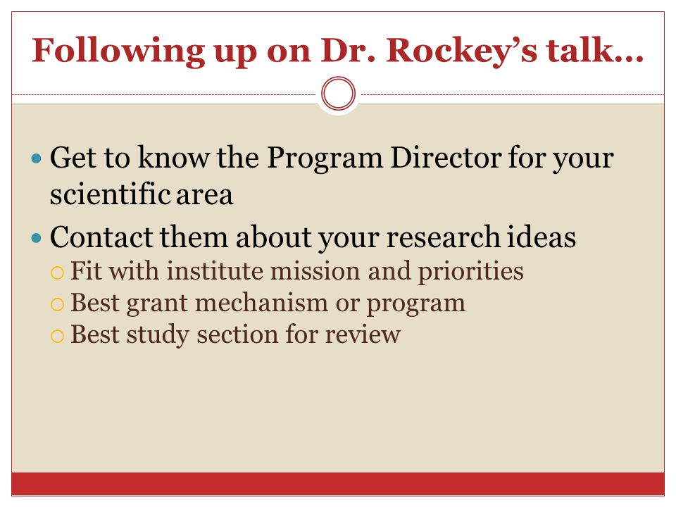 Following up on Dr. Rockey's talk…