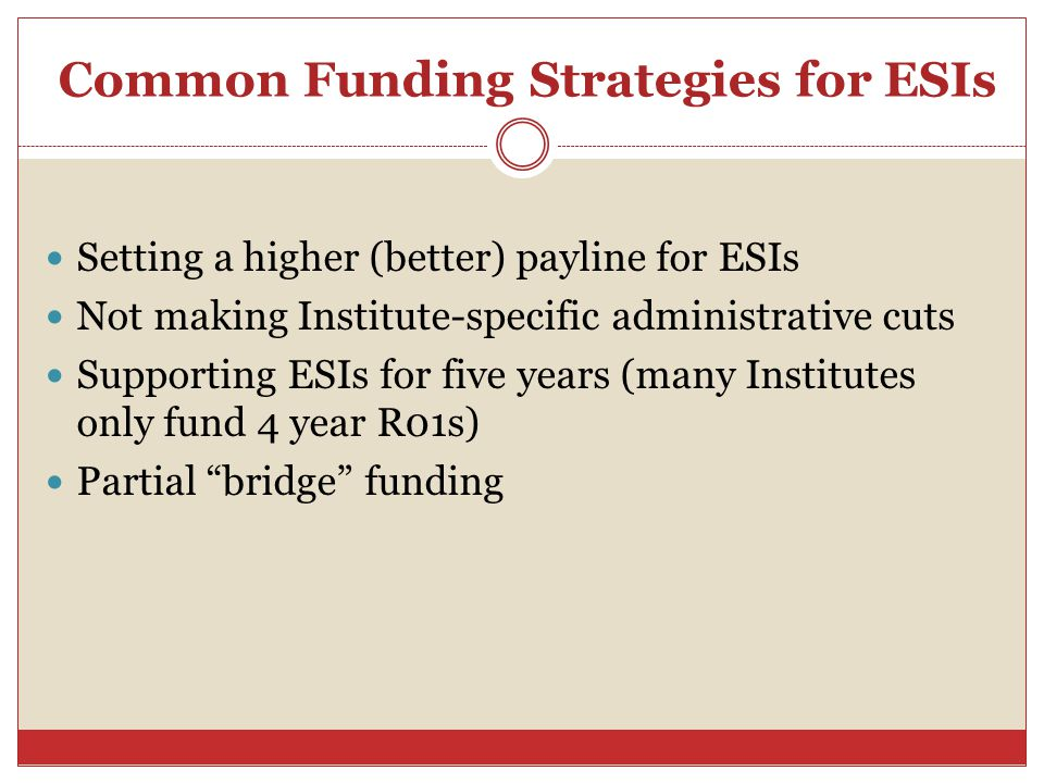Common Funding Strategies for ESIs