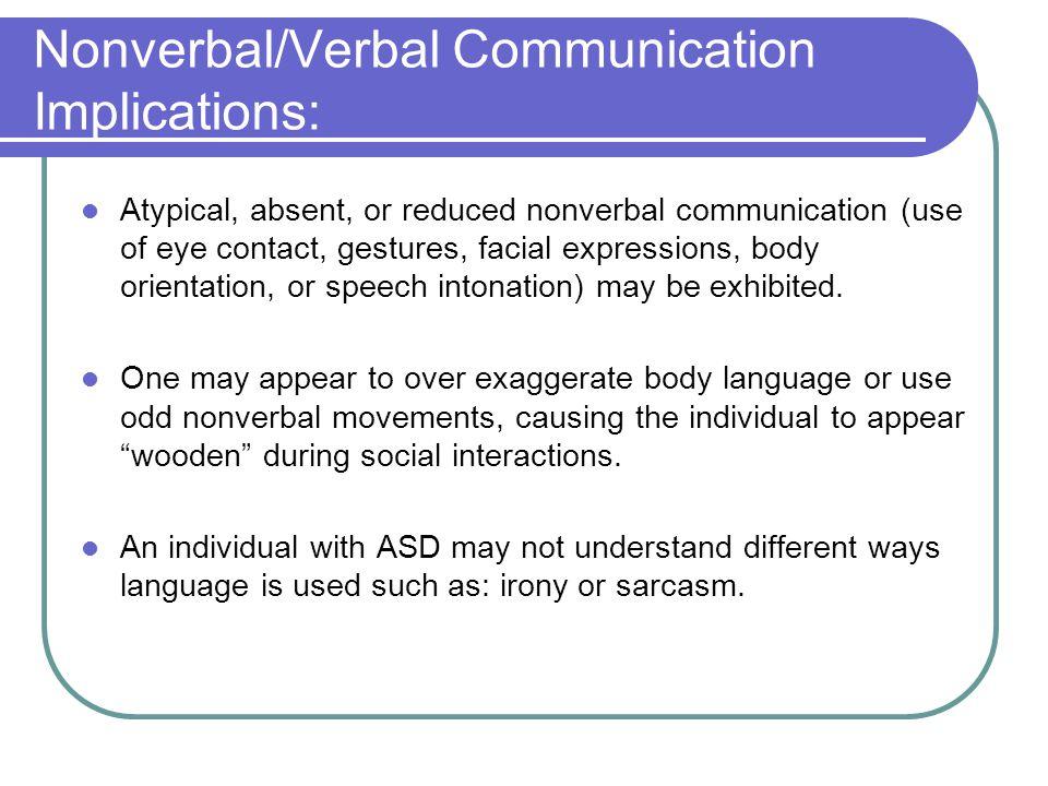Nonverbal/Verbal Communication Implications: