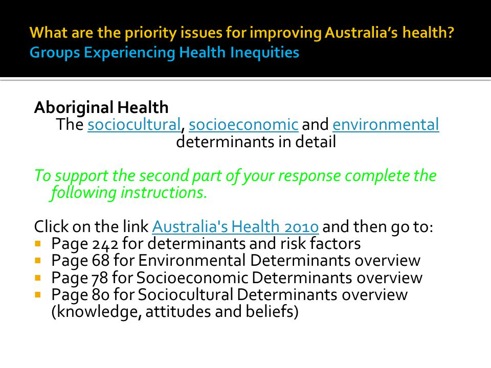 Click on the link Australia s Health 2010 and then go to: