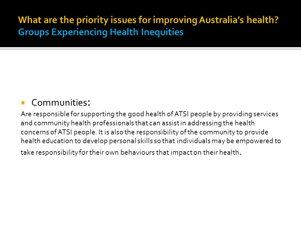 What are the priority issues for improving Australia's health