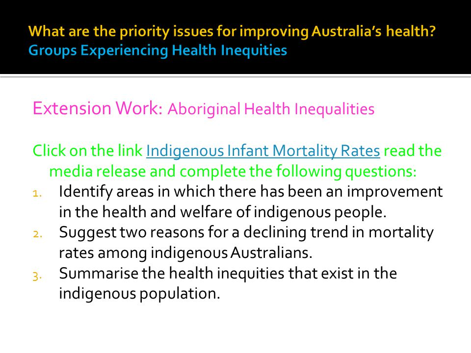 Extension Work: Aboriginal Health Inequalities