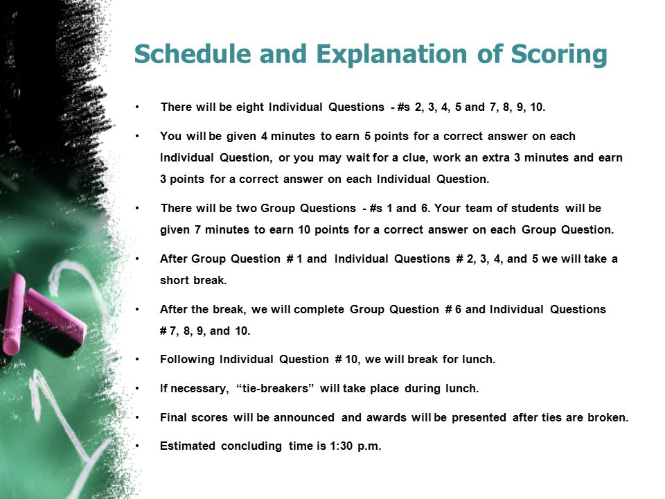 Schedule and Explanation of Scoring