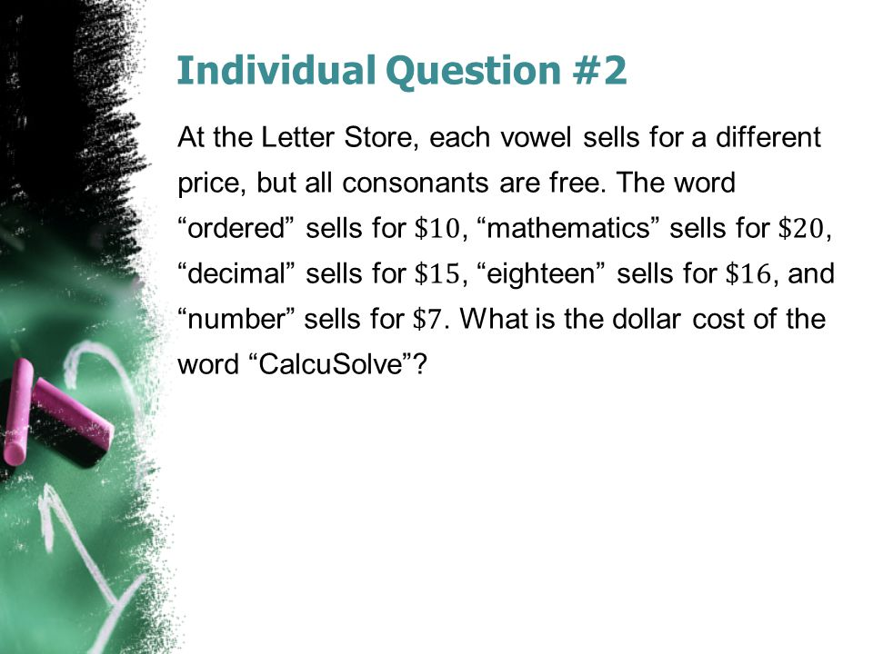 Individual Question #2
