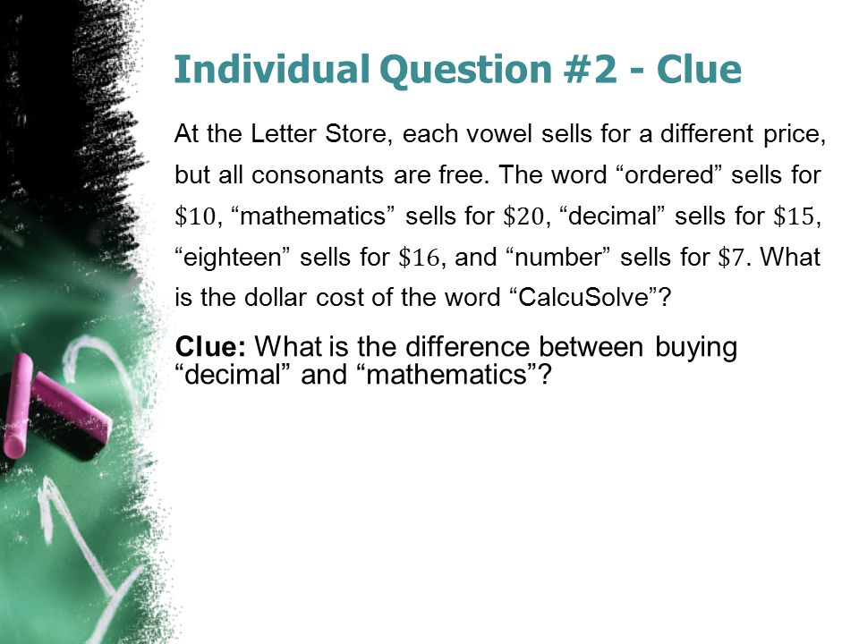 Individual Question #2 - Clue