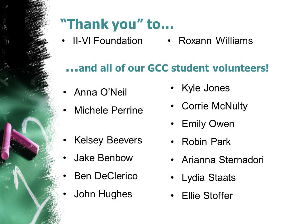 …and all of our GCC student volunteers!