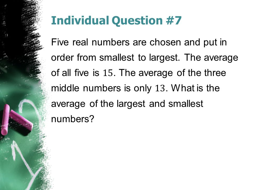 Individual Question #7