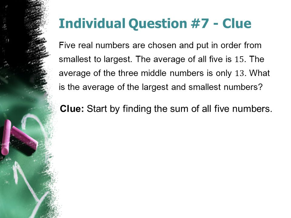 Individual Question #7 - Clue