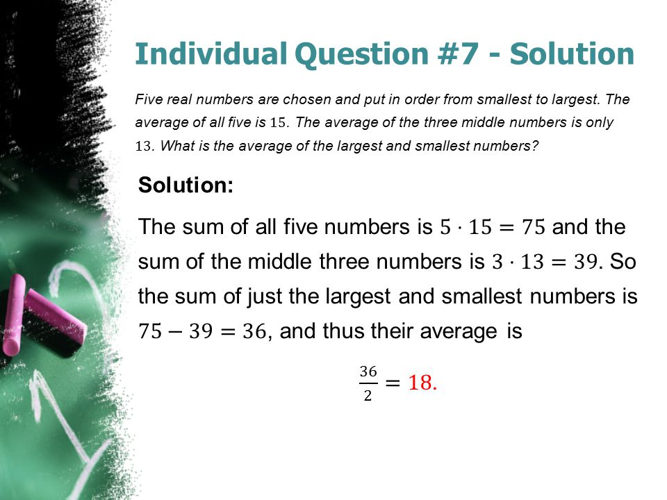 Individual Question #7 - Solution