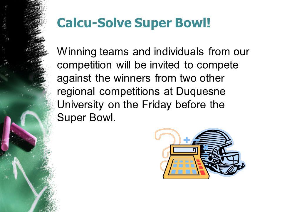 Calcu-Solve Super Bowl!