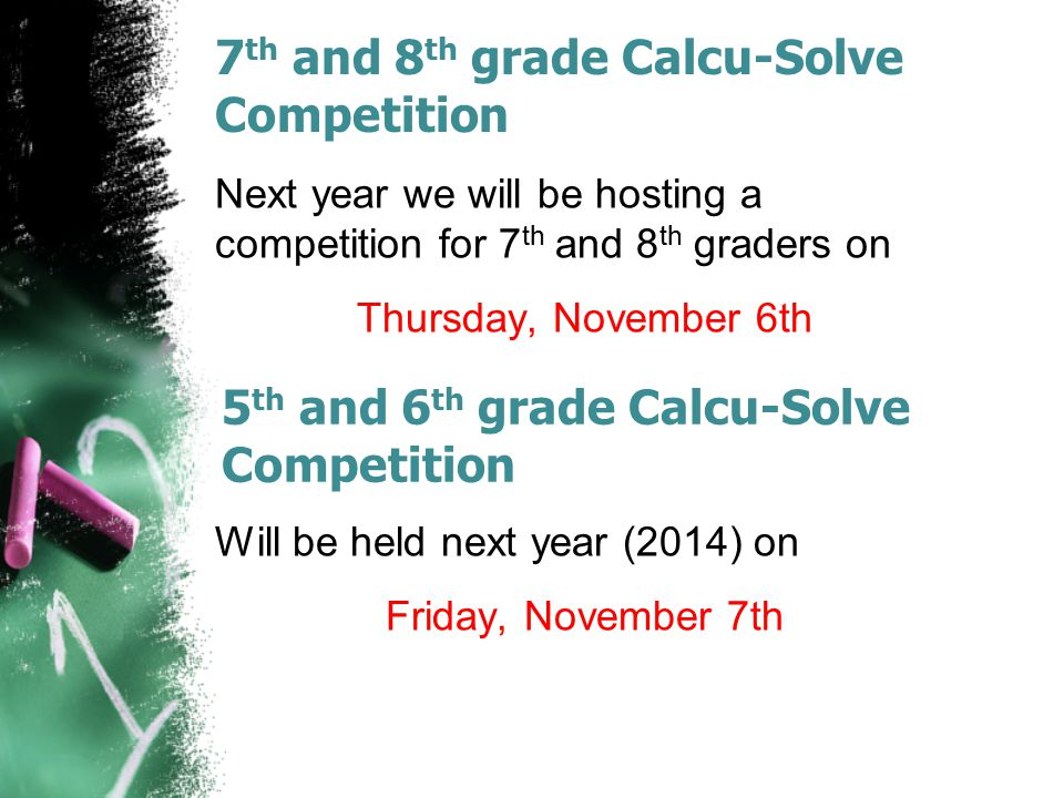 7th and 8th grade Calcu-Solve Competition
