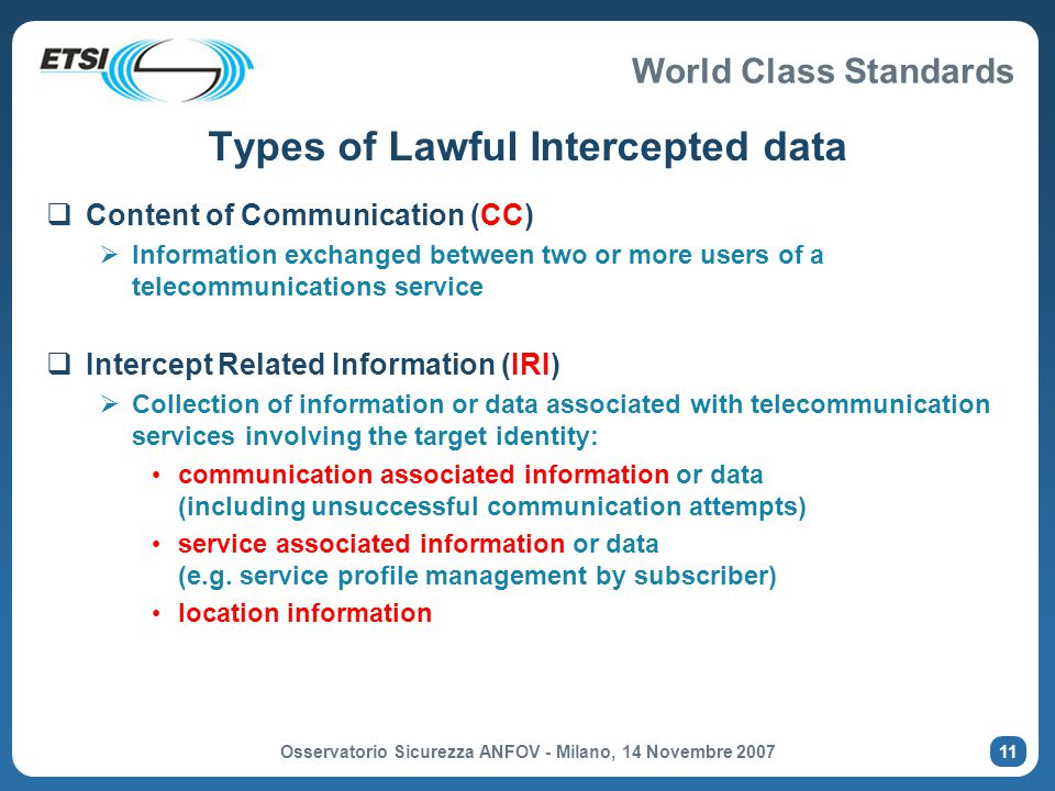Types of Lawful Intercepted data