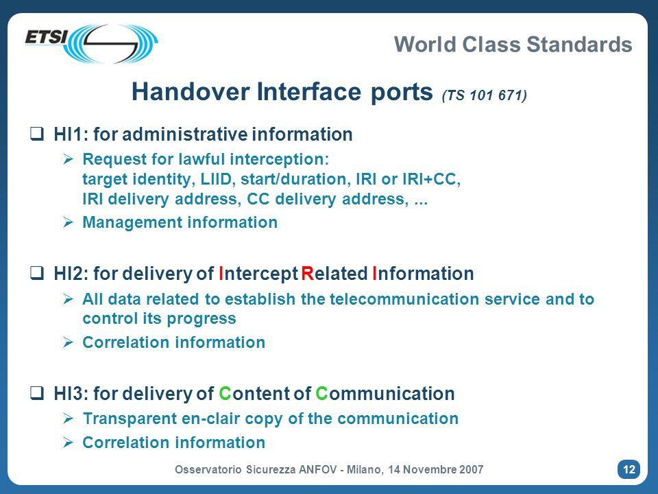 Handover Interface ports (TS 101 671)