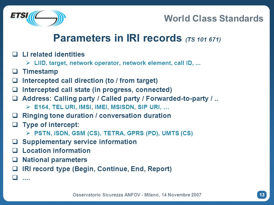 Parameters in IRI records (TS 101 671)