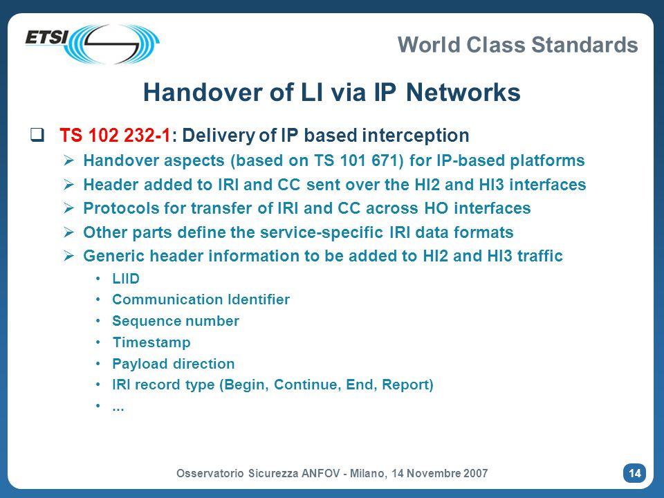 Handover of LI via IP Networks