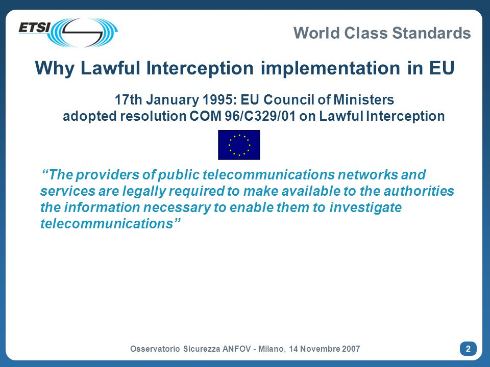 Why Lawful Interception implementation in EU