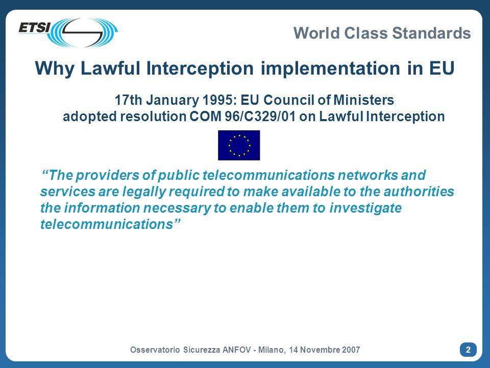 Why Lawful Interception implementation in EU