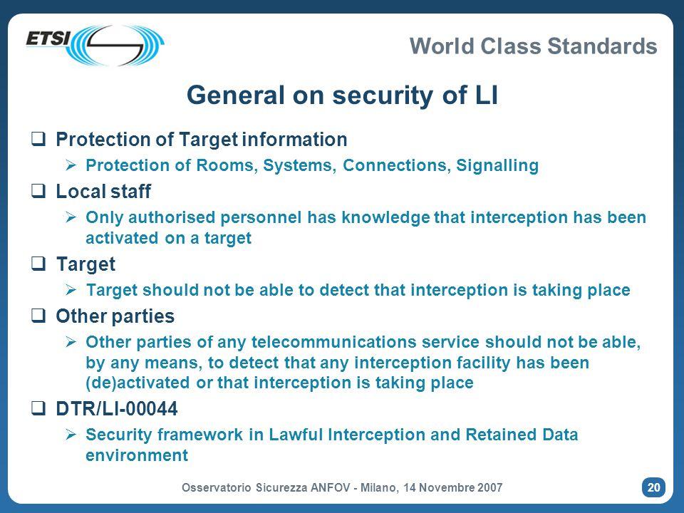 General on security of LI