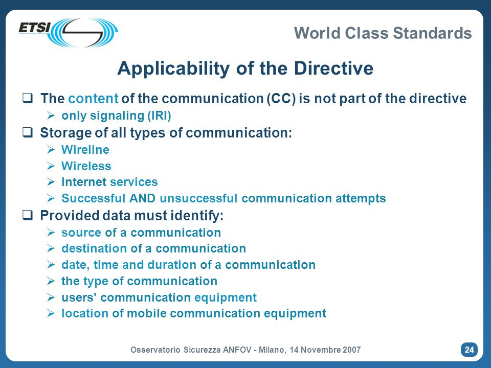 Applicability of the Directive