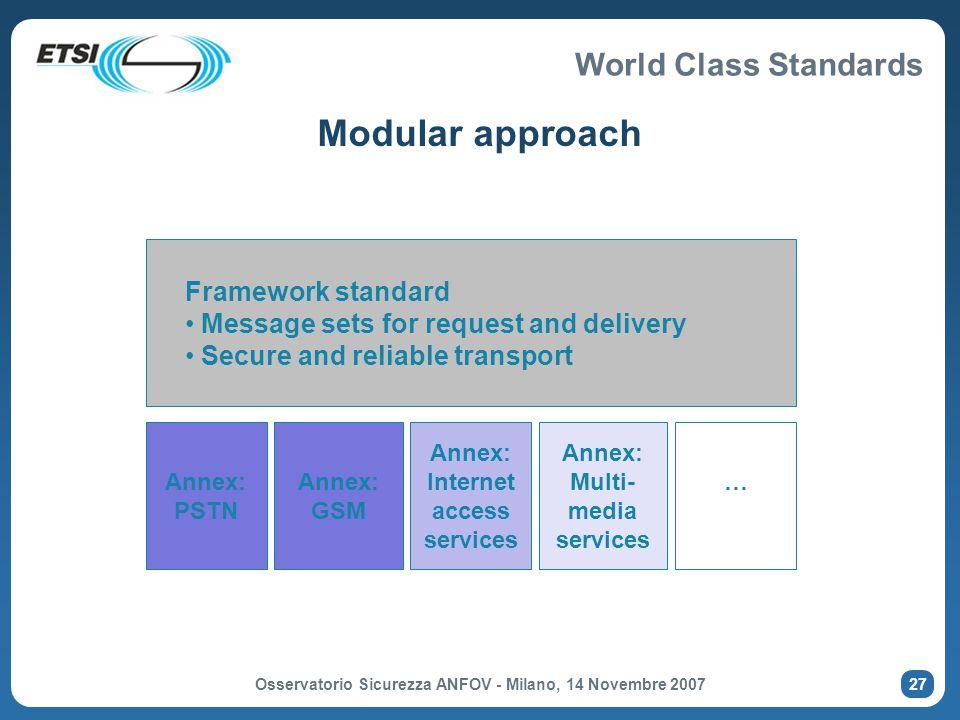 Modular approach Framework standard