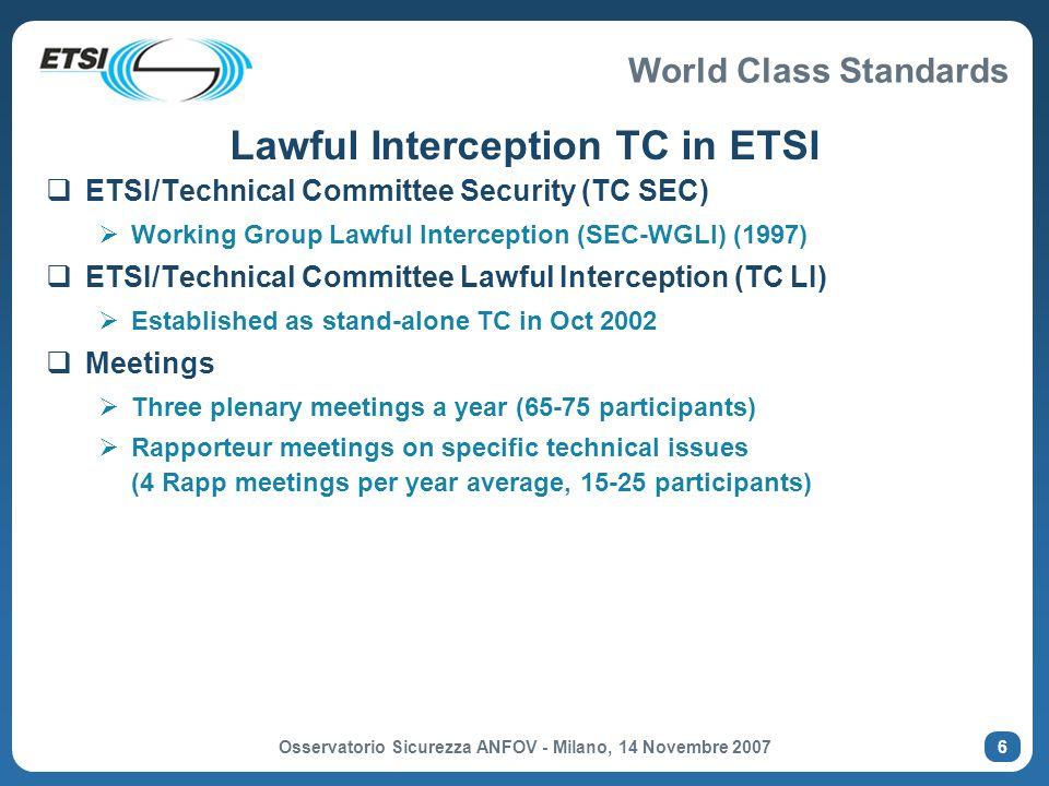 Lawful Interception TC in ETSI