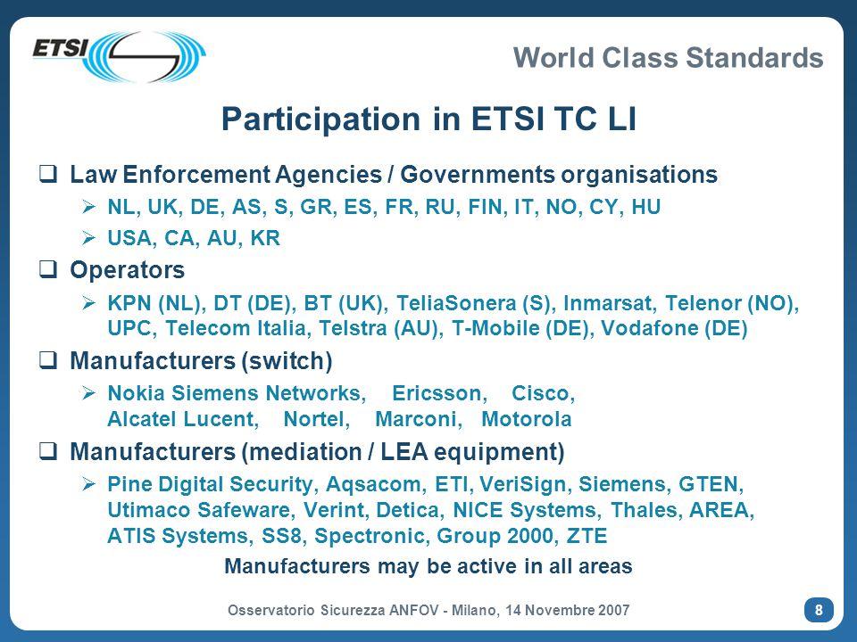 Participation in ETSI TC LI