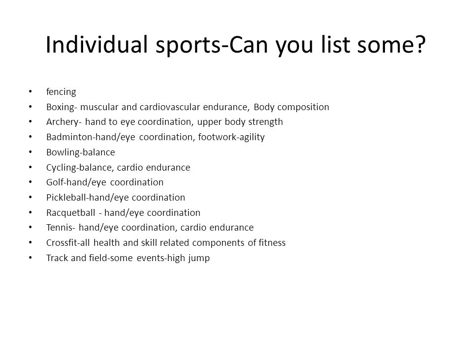 Individual sports-Can you list some