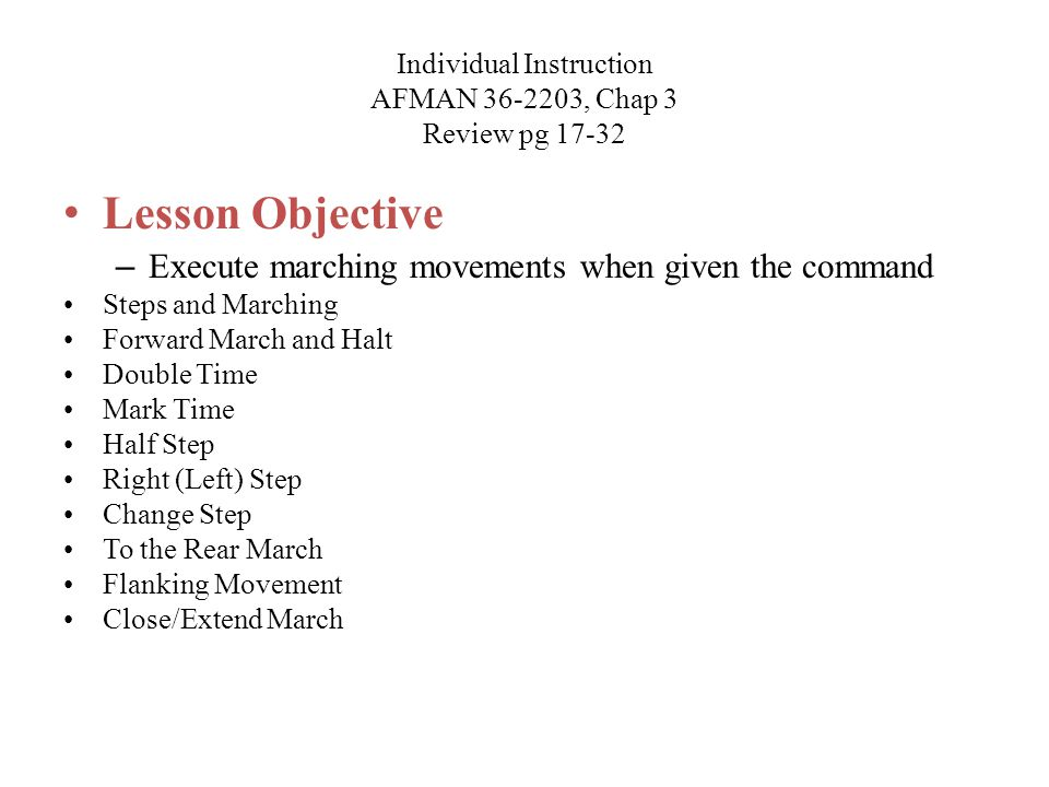 Individual Instruction AFMAN 36-2203, Chap 3 Review pg 17-32