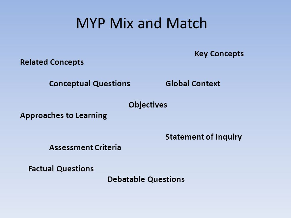 MYP Mix and Match