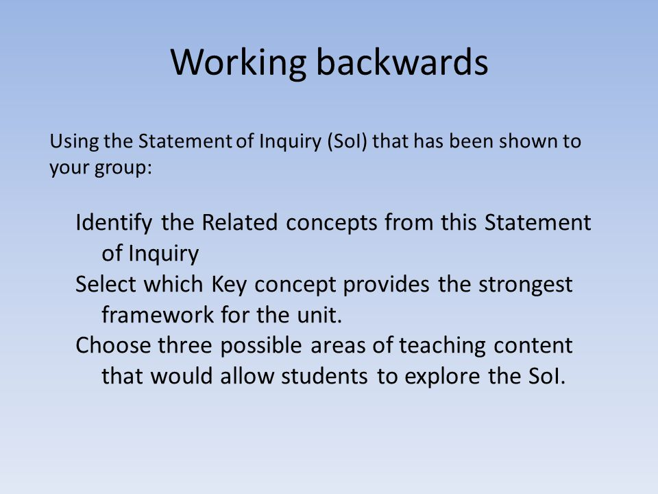 Working backwards Using the Statement of Inquiry (SoI) that has been shown to your group: