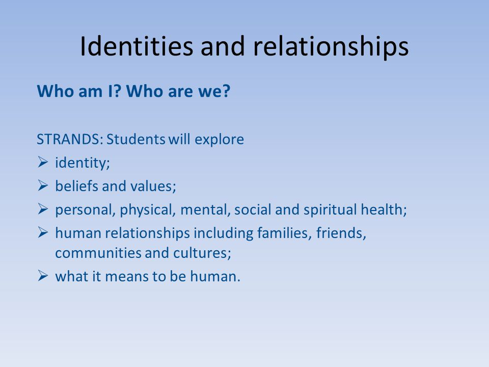 Identities and relationships