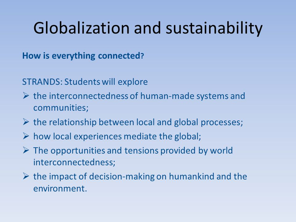 Globalization and sustainability