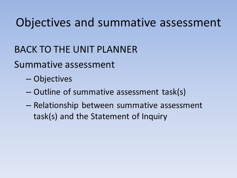 Objectives and summative assessment