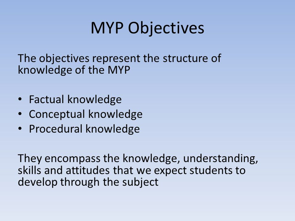 MYP Objectives The objectives represent the structure of knowledge of the MYP. Factual knowledge. Conceptual knowledge.