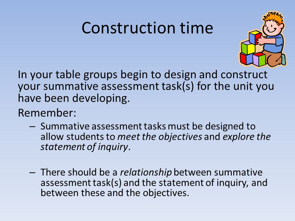 Construction time In your table groups begin to design and construct your summative assessment task(s) for the unit you have been developing.