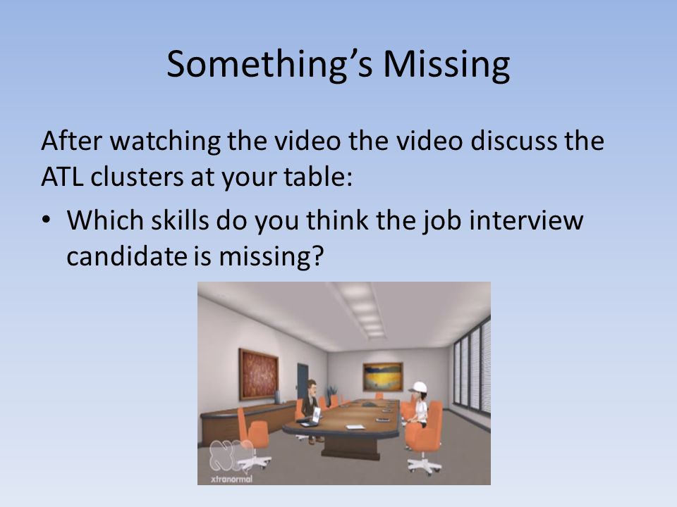Something's Missing After watching the video the video discuss the ATL clusters at your table: