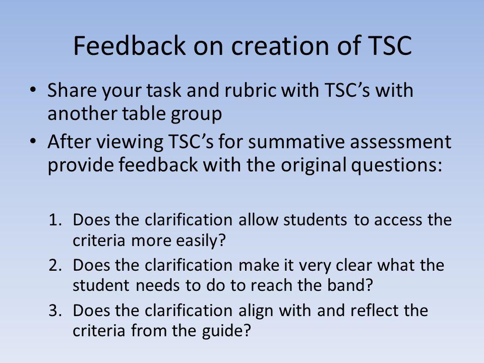 Feedback on creation of TSC
