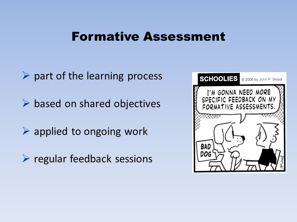 Formative Assessment part of the learning process