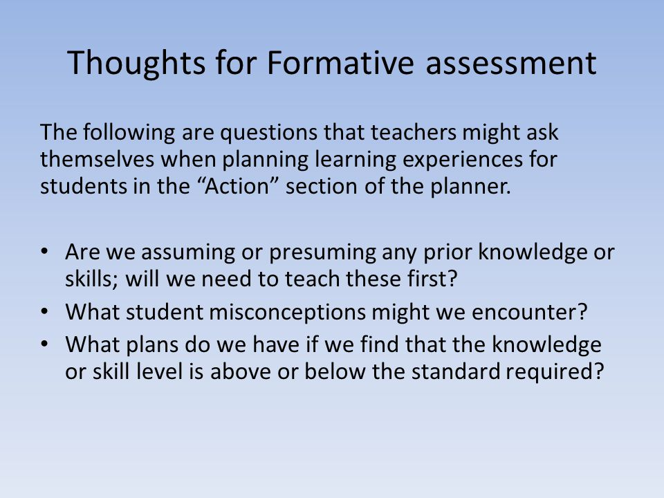 Thoughts for Formative assessment