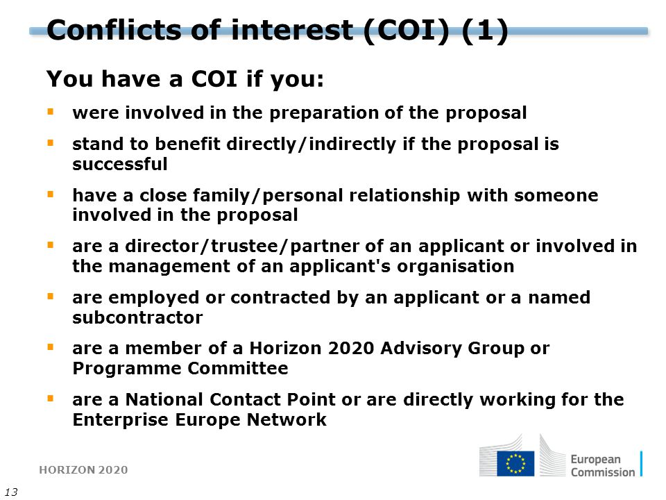 Conflicts of interest (COI) (1)